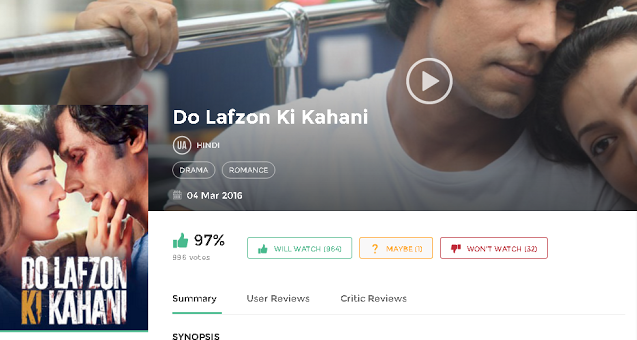 Do Lafzon Ki Kahani 2016 Hindi Movie DVDscr 700Mb