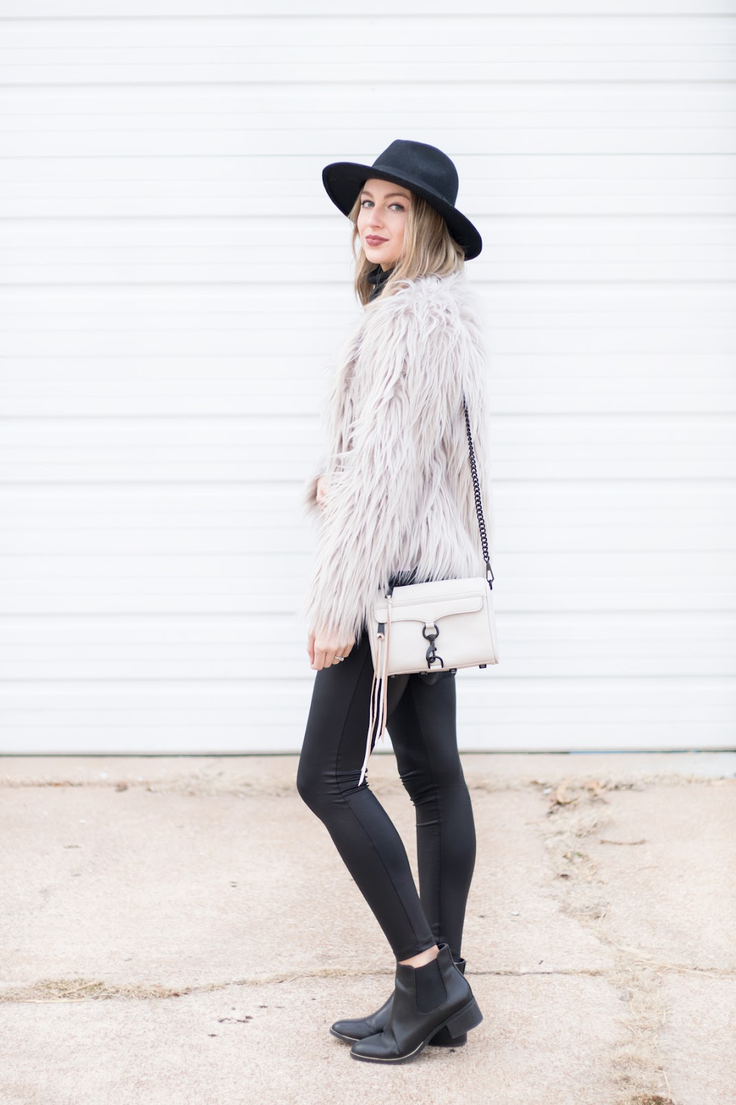 Faux fur + leather leggings