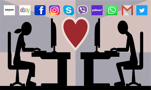 Two people, a man and a woman each sitting in front of a computer chatting with each other. It has logo of amazon, ebay, facebook, instagram, skype, viber, whatsapp, gnail, twitter and yahoo