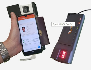 Lector móvil de documentos electrónicos con lector biométrico de huella dactilar.