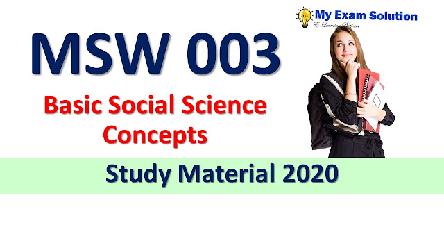 MSW 003 Basic Social Science Concepts Study Material 2020