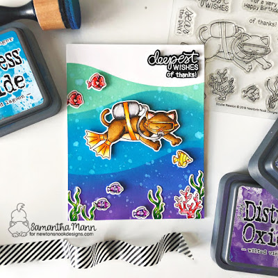 Deepest Wishes Card by Samantha Mann for Newton's Nook Designs, Scuba Newton, Distress Oxide Ink, Ink Blending, Thank you Card, Cards, Handmade cards, #newtonsnook #oxideinks #inkblending #thankyou #cards