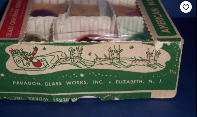 Santa and reindeer on the side of a vintage box of ornaments from Paragon Glass Works of Elizabeth NJ