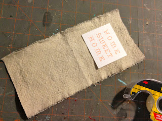 sewing cardstock onto drop cloth
