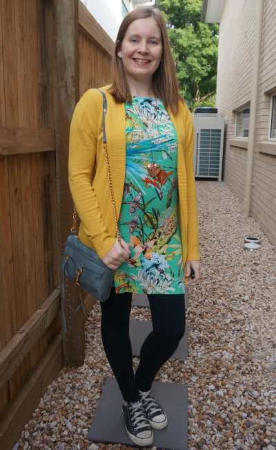 mustard cardigan with green floral tee dress, leggings Converse mini mac bag | away from blue