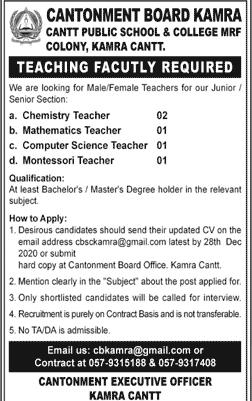 Cantonment Board (CB) Govt Jobs 2020 Advertisement