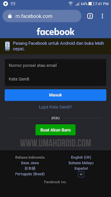 Tampilan Mode Gelap Chrome Android