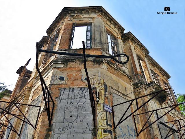 Vista de parte do antigo Palacete do Barão do Rio Pardo (ruínas) - Campos Elíseos - São Paulo
