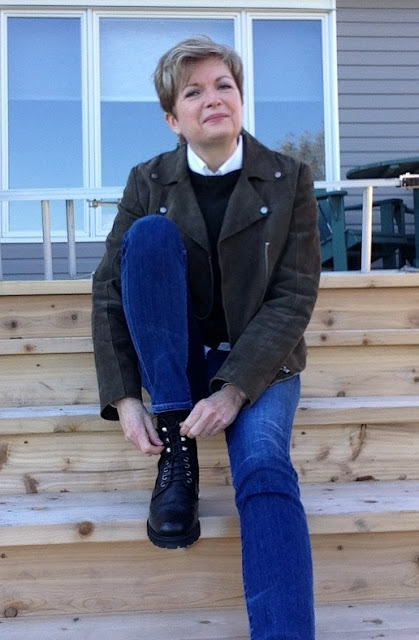 Theory white shirt, Prada sweater, M&S khaki suede jacket, Citizens of Humanity jeans, Stuart Weitzman boots
