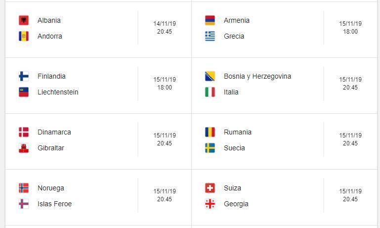 18 Calendario eliminatorias Eurocopa 2020 - 15 de noviembre 2019. Partidos de clasificación Eurocopa 2020. Juegos de las eliminatorias Eurocopa 2020. Partidos, fechas, hora, transmisiones eliminatorias Eurocopa 2020. Donde ver la Eurocopa 2020