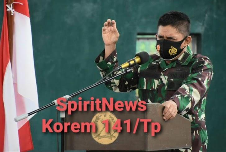 Kasdam Hasanuddin, Pimpin Giat Briefing Latihan Posko 1 di Korem 141/Tp