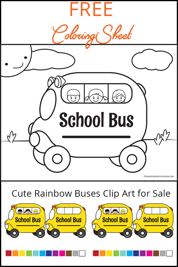 FREE school bus coloring page for your kids