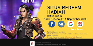 Kode Redeem FF 5 September 2020