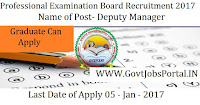 Professional Examination Board Recruitment 2017 For Deputy Manager Post