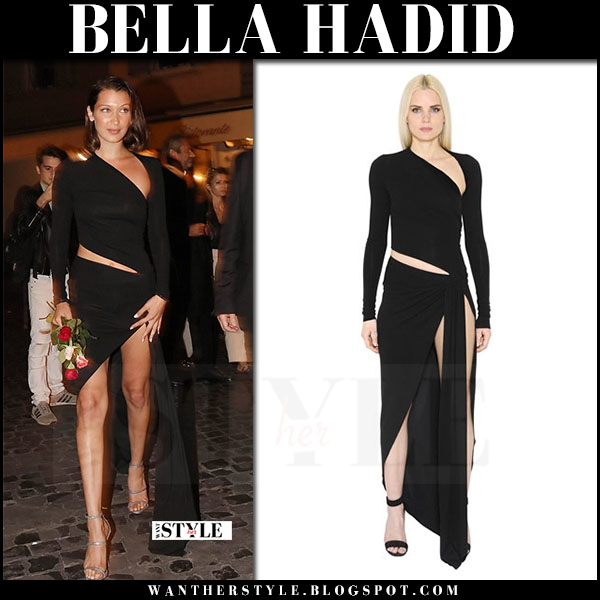 Bella Hadid in black cutout asymmetrical dress alexandre vauthier rome may 23 2017 what she wore