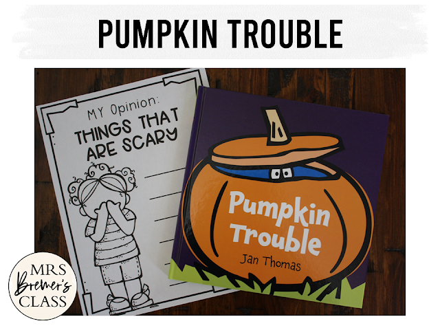 Pumpkin Trouble book study unit Common Core literacy companion activities and craftivity K-1