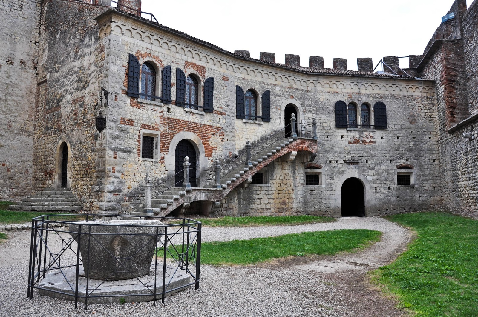 The courtyard, Soave Castle, Soave, Veneto, Italy
