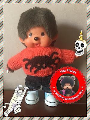 Pull araignée Halloween pour Kiki ou Monchhichi tricot handmade fait main vêtements