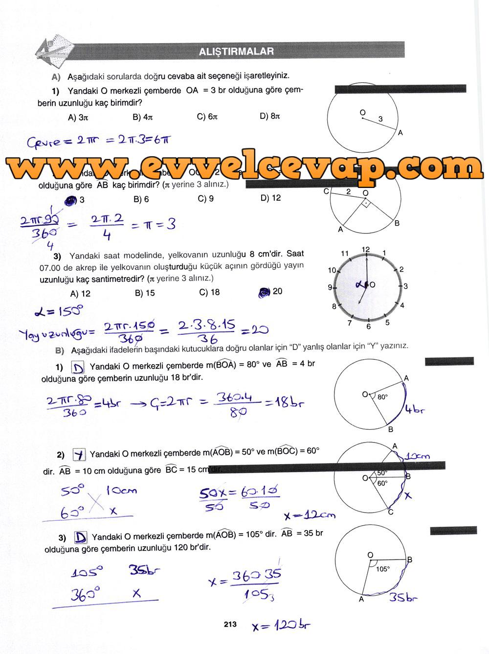 7. Sınıf Gizem Yayınları Matematik Ders Kitabı 213. Sayfa Cevapları Çember ve Daire