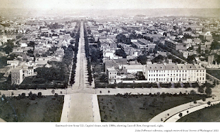 Photograph, eastward view from U.S. Capitol dome, early 1880s, showing Carroll Row, foreground, right. John DeFerrari collection, original retrieved from 'Streets of Washington' 2021.