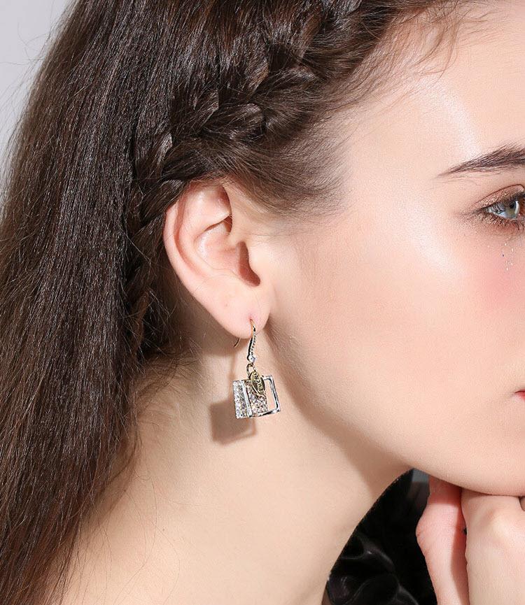 LUCK閃亮OL風鋯石耳環