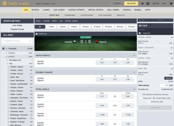 Betcruise Live Betting Screen