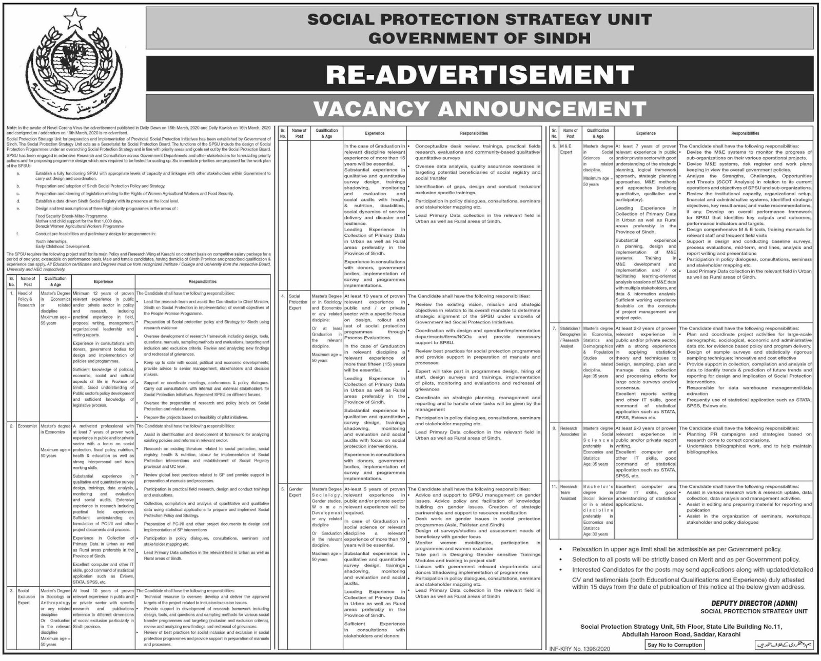 Social Protection Strategy Unit Government of Sindh Karachi Jobs