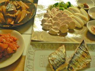 夕食の献立 ニシン煮物、塩焼き 煮物 鶏ササミ盛り合わせ