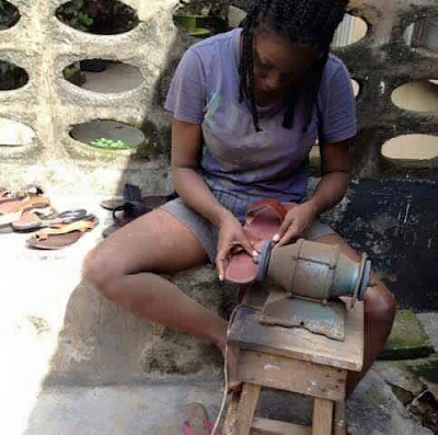 Photos: Meet Michelle Ekure, a female graduate turned shoemaker