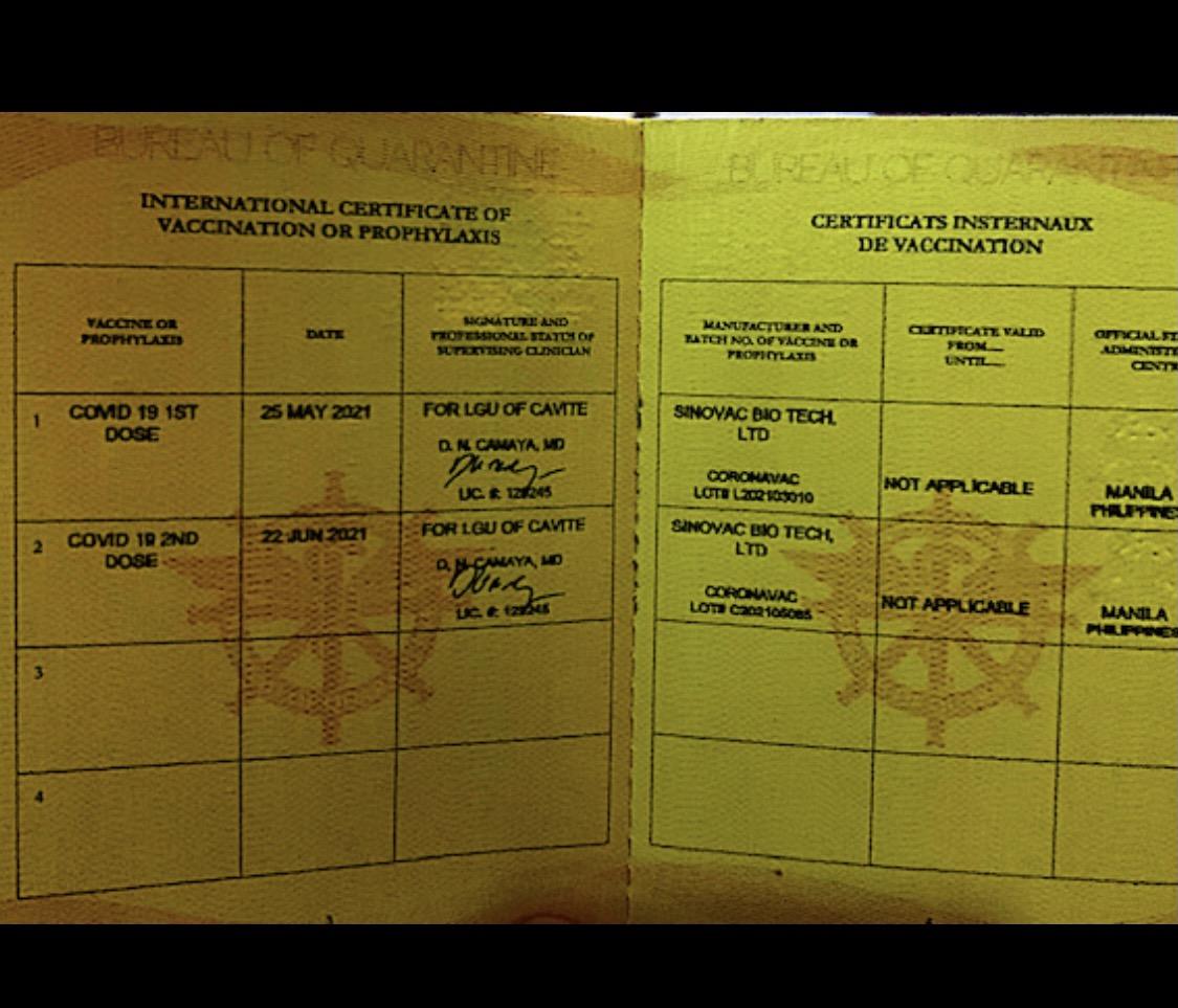BOQ International Certificate of Vaccination (Vaccine Passport) COVID 19 Yellow Card