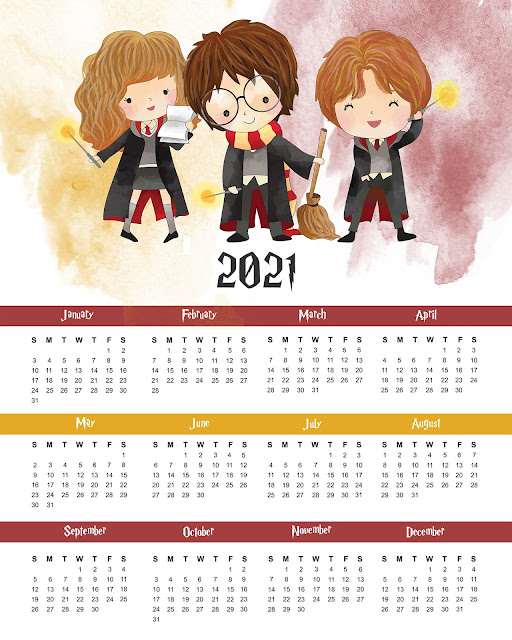 Harry Potter: Free Printable One Sheet 2021 Calendar.