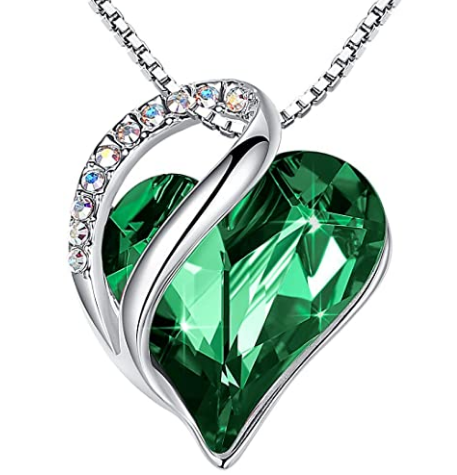 love heart pendant necklace with birthstone crystals