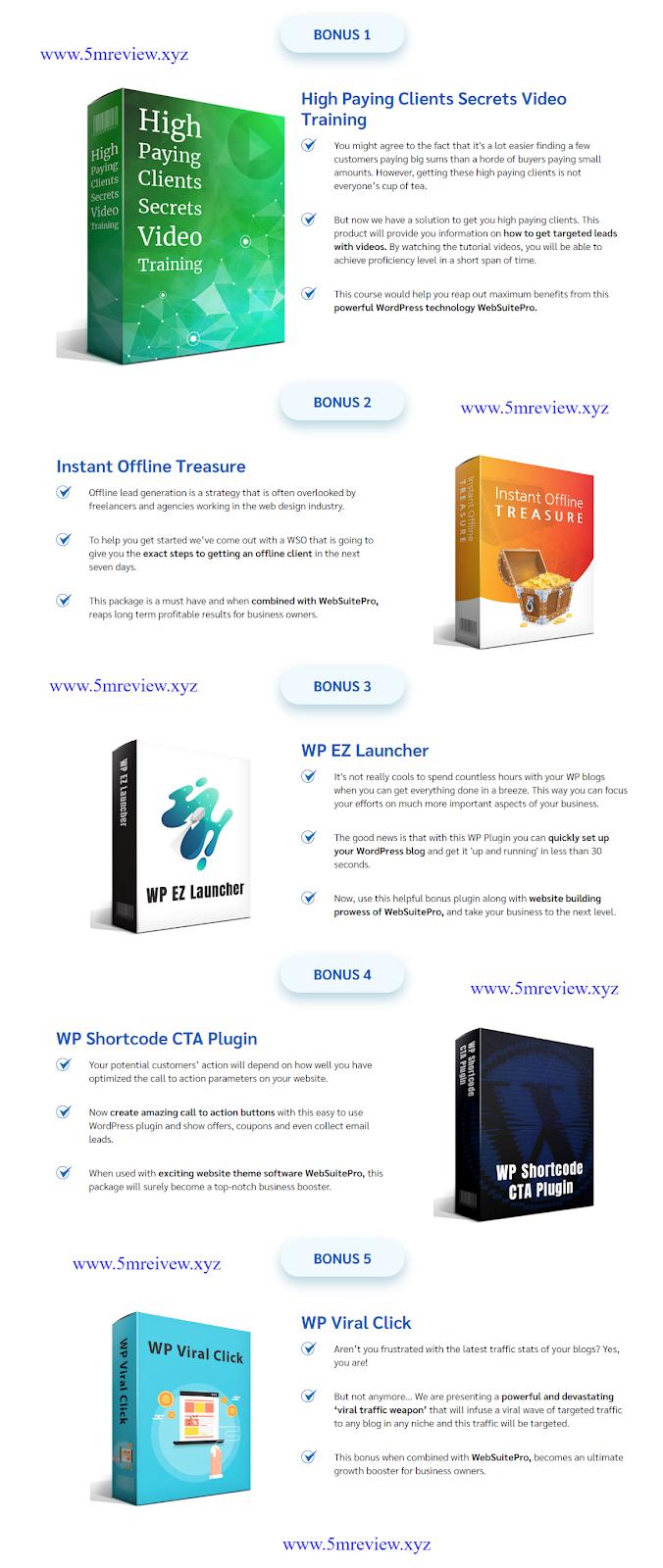 WebSuitePro review Bonus List 1