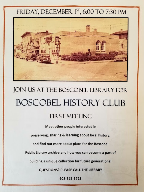 Boscobel Library History Club meets Dec 1st, 6PM at the library