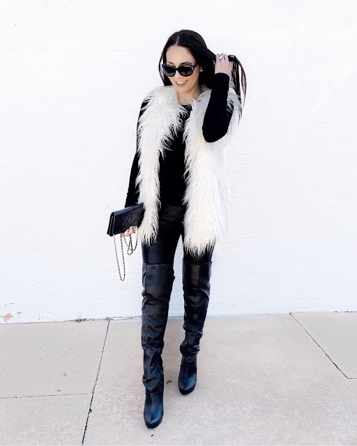 White or Ivory Faux Fur Vest with over the knee boots and Faux leather leggings www.MalenaHaas.com