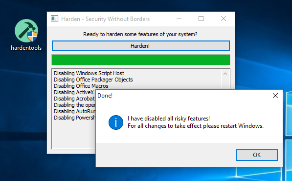 Hardentools is really a free open up source program for that Microsoft Windows operating-system that may harden the machine by disabling functions.