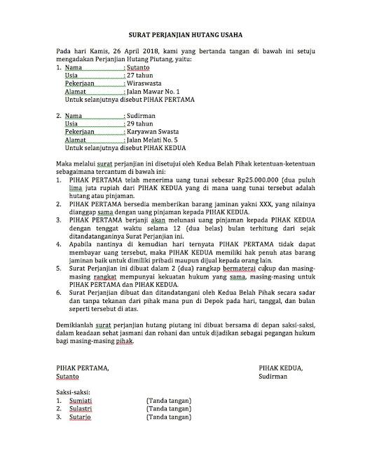 Contoh Surat Perjanjian Hutang Piutang Tenggat Waktu 12 Bulan