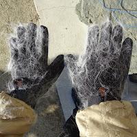 静電気で手袋の反対側に付いた冬毛