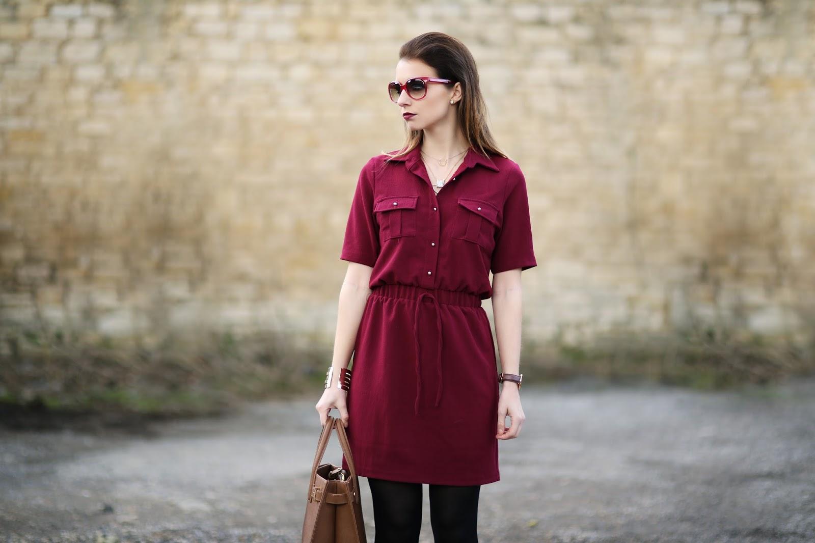 43224a95425b Boohoo Daisy Tie Waist Shirt Skater Dress| London Fashion Week | Eltoria