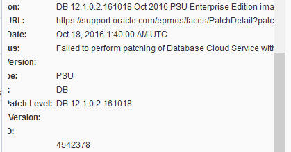 Failed to perform patching of Database Cloud Service