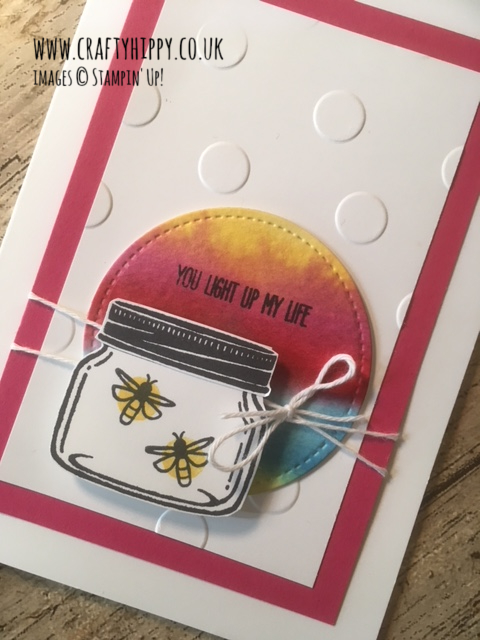 Handmade card featuring a jar with fireflies and a Melon Mambo Cardstock border, made with the Jar of Love stamp set by Stampin' Up!