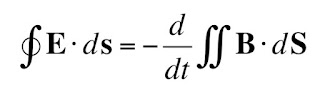 The integral form of Faraday's law.