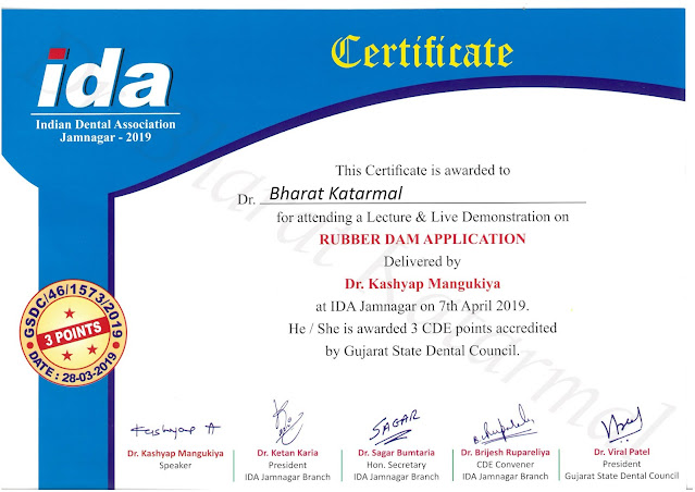 Rubber Dam Application by Dr Kashyap Mangukiya at Jamnagar