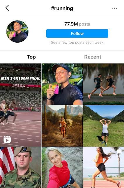 Running hashtags for Instagram
