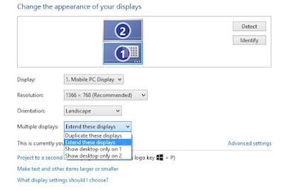 Cara menghubungkan laptop ke TV menu extend dan duplikat