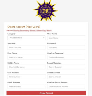 waec-school-account-profile-creation-online