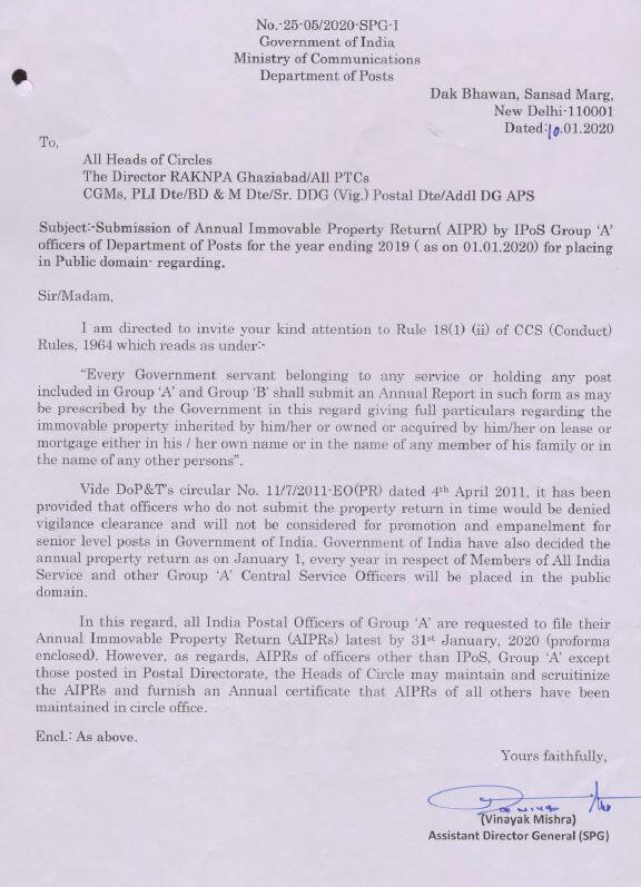 Submission of APR by IPoS Group A Officers of DOP for the year 2019 for placing in Public domain