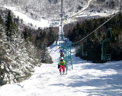 Riding the single chair at Mad River Glen, St. Patrick's Day 03/17/2017.  The Saratoga Skier and Hiker, first-hand accounts of adventures in the Adirondacks and beyond, and Gore Mountain ski blog.