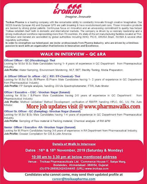 Troikaa Pharmaceuticals walk-in interview for QA & RA on 16th & 18th November, 2019