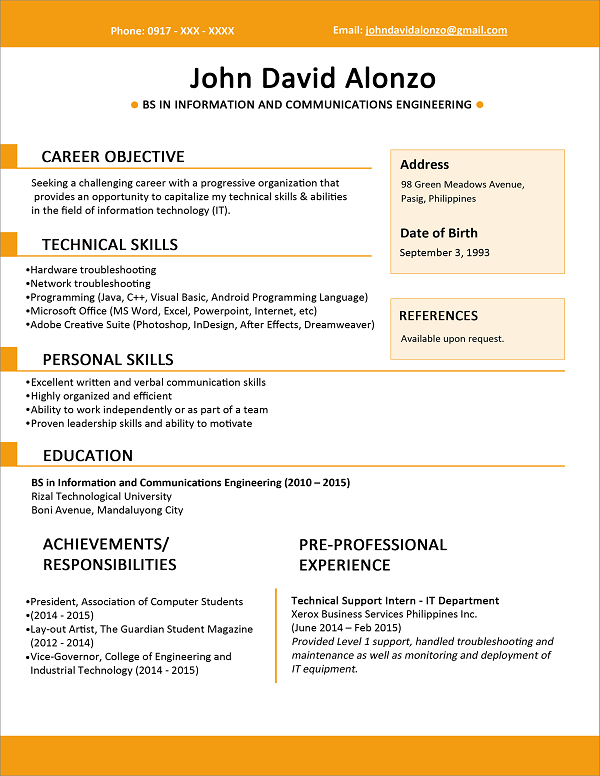 Contoh Objective Resume